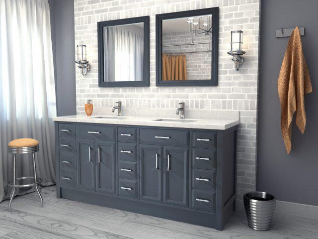 Calais 75-inch Bathroom Cabinet in Pepper Grey