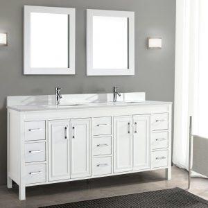 Corniche 75-inch Bathroom Cabinet in White