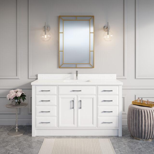 Calais 60-inch Bathroom Cabinet in White
