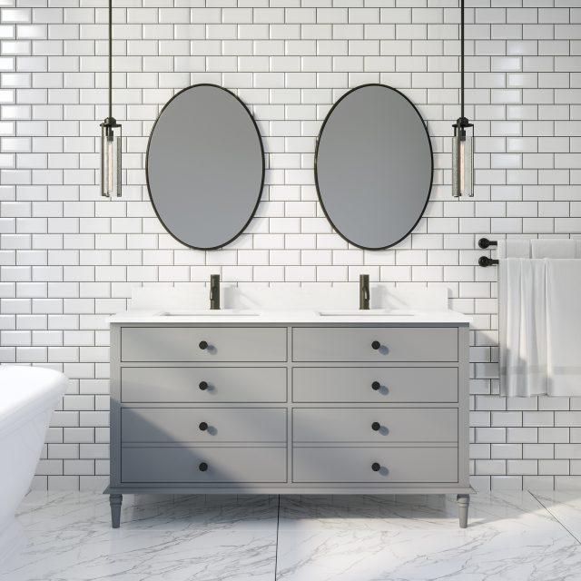 Francis 60-inch Bathroom Cabinet in Oxford Grey