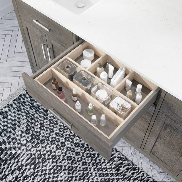Katie 72-inch Bathroom Cabinet in French Grey showing the removable drawer organizer