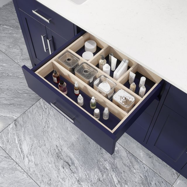 Katie 72-inch Bathroom Cabinet in Navy Blue showing the removable drawer organizer