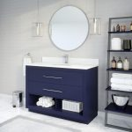 Ronaldo 48-inch Bathroom Cabinet in Navy-Blue Side Angle Image