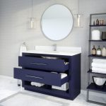 Ronaldo 48-inch Bathroom Cabinet in Navy-Blue with drawers opened
