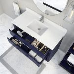 Ronaldo 48-inch Bathroom Cabinet in Navy-Blue with drawers opened from an Overhead view