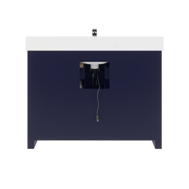 Ronaldo 48-inch Bathroom Cabinet in Navy-Blue with an Open back Panel below the Sink area
