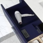 Ronaldo 48-inch Bathroom Cabinet in Navy-Blue showing the Power Outlet