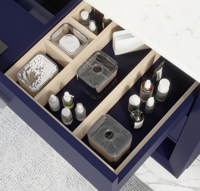 Ronaldo 48-inch Bathroom Cabinet in Navy-Blue showing the removable drawer organizer