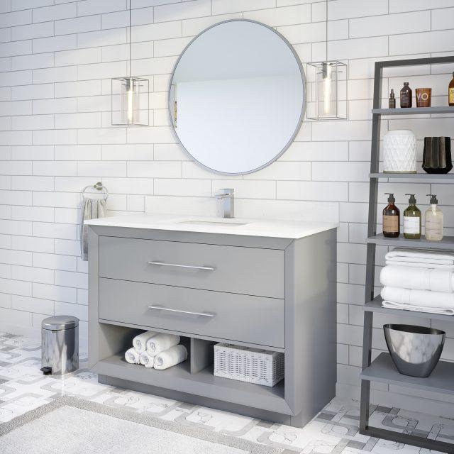 Ronaldo 48-inch Bathroom Cabinet in Oxford Grey Side Angle Image