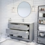 Ronaldo 48-inch Bathroom Cabinet in Oxford Grey with drawers opened