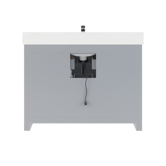 Ronaldo 48-inch Bathroom Cabinet in Oxford Grey with an Open back Panel below the Sink area