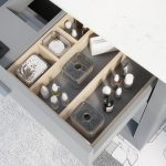 Ronaldo 48-inch Bathroom Cabinet in Oxford Grey showing the removable drawer organizer