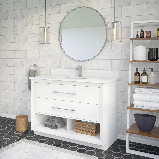 Ronaldo 48-inch Bathroom Cabinet in White Side Angle Image
