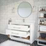 Ronaldo 48-inch Bathroom Cabinet in White with drawers opened