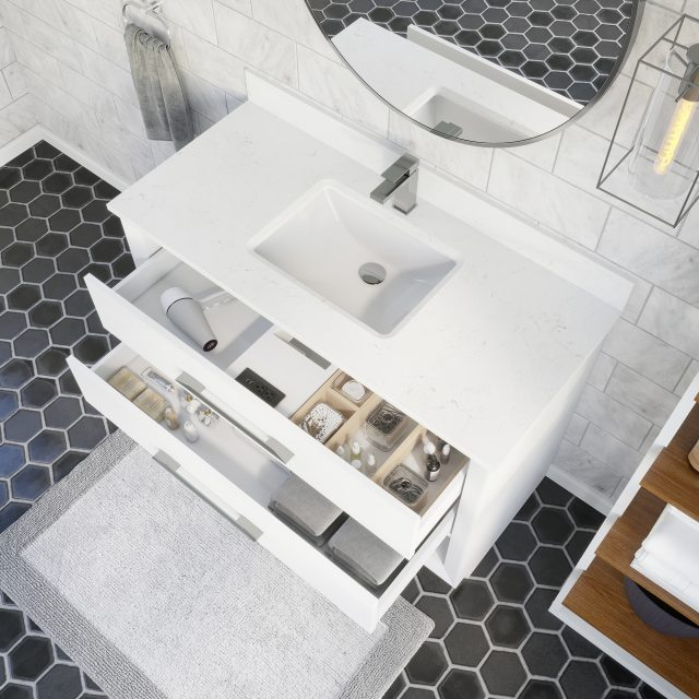 Ronaldo 48-inch Bathroom Cabinet in White with drawers opened from an Overhead view