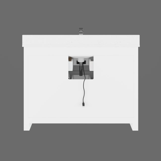 Ronaldo 48-inch Bathroom Cabinet in White with an Open back Panel below the Sink area