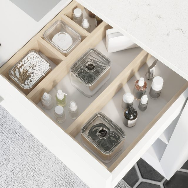 Ronaldo 48-inch Bathroom Cabinet in White showing the removable drawer organizer