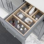Thomson 60-inch Bathroom Cabinet in Oxford Grey showing the removable drawer organizer