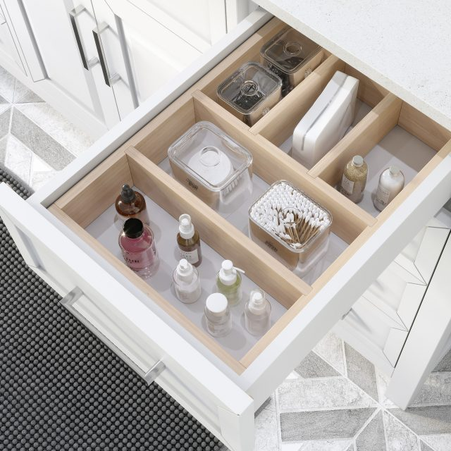 Thomson 60-inch Bathroom Cabinet in White showing the removable drawer organizer