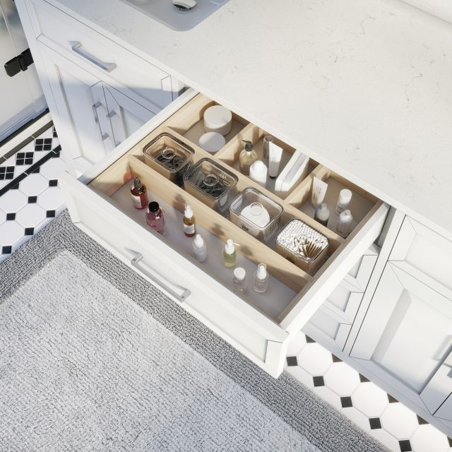 Thomson 72-inch Bathroom Cabinet in White showing the removable drawer organizer